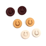JE273 - Leather Embossed Horseshoe Stud Earrings - Brown, Ivory, or Tan - Package (3)