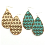 Chevron Arrows on Leather Earrings - Ivory or Turquoise - Package (3)