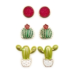 3 Pack of Cactus Earrings - Package (3)