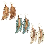Leather Embossed Feather Earrings - Brown, Ivory, or Turquoise - Package (3)