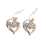JE291 - Two Horse Heart Earrings - Gold, Silver or Patina - Package (3)