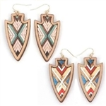 Arrowhead Chevron Wood Earrings - Natural and Red - Package (3)