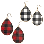 Buffalo Plaid Tear Drop Metal Earrings - Package (3)