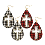 Buffalo Plaid Cross Cutout and Rhinestones Earrings - Red or White- Package (3)