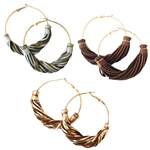 Twisted Leather Hoops - Gold, Brown or Silver - Package (3)