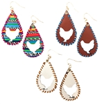 Leather Chicken Earrings - Brown, Natural and Serape - Package (3)