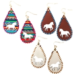 Leather Horse Earrings - Brown, Natural and Serape - Package (3)