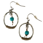 Oval with Turquoise Drop Earrings - Patina - Package (3)