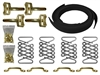 Brass Hood Strap Kit , black leather hot rod , street rod , brass