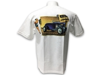LimeWorks , T-Shirt , White , Post Card Design , Pin up , Hot Rod , Street Rod , Apparel ,