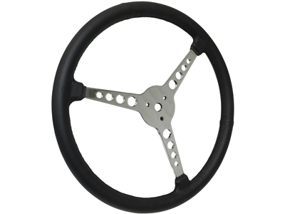 "Sprint Steering Wheel - 15"" Black Leather - 3 Spoke design with holes"