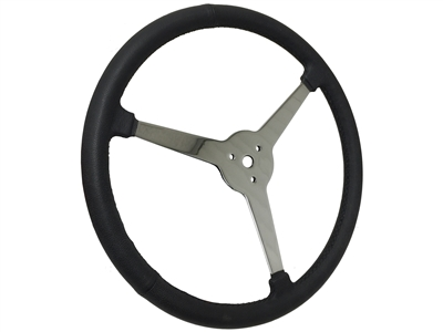 "Sprint Steering Wheel - 15"" Black Leather - Solid 3 Spoke design"