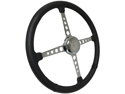 Sprint Steering Wheel Kit, Etched Series Hot Rod V8 - 4 Spoke Holes Design