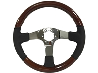Auto Pro USA , Volante , Sport , Mahogany , Wood , Black , leather , Steering Wheel , chrome Center , Brown , GM , MOPAR , FORD , Corvette , Mustang , Charger , Challenger , Camaro , El camino , Impala , bel air , nova , chevy II , oldsmobile , firebird ,