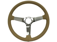 Auto pro usa , volante , S6 , oe restoration , Tan , solid , leather , chrome , Steering Wheel , GM , Corvette ,