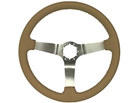 auto pro usa , volante , S6 , oe restoration , solid , tan , leather , brushed , aluminum , Steering Wheel , GM , black , MOPAR , Corvette , Camaro , El camino , Impala , bel air , nova , chevy II , oldsmobile , firebird ,