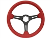 Auto Pro USA , Volante , Sport , red , leather , Steering Wheel , black Center , anodized , GM , MOPAR , FORD , Corvette , Mustang , Charger , Challenger , Camaro , El camino , Impala , bel air , nova , chevy II , oldsmobile , firebird , bronco , vw ,
