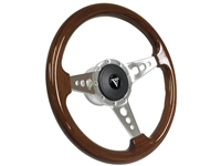 Walnut , Wood , Steering Wheel Kit , Art Deco , Tri Spoke , Holes , Taper and Key , Ididit , Flaming River , Hot Rod , Street Rod