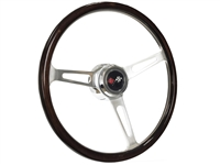 Chevy DLX Wood Option Cross Flags Steering Wheel