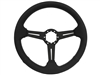 S6 Sport Perforated Leather Steering Wheel - Black Slotted Center S6 Sport Steering Wheel