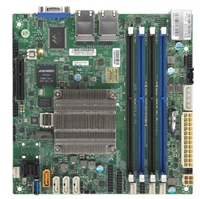 Supermicro A2SDI-4C-HLN4F Motherboard Mini-ITX, Single Socket FCBGA 1310 supported, CPU TDP support 16W, Intel Atom Processor C3338, 4-Core Denverton, Intel Quick Assist Tecnology, Quad 1GbE LAN, IPMI, System on Chip