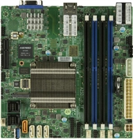 Supermicro A2SDi-H-TF Motherboard Mini-ITX, Single Socket FCBGA 1310, Intel Atom Processor C3758, System on Chip, CPU TDP support 25W, Dual LAN with Intel C3000 SoC 2 10GBaseT, Up to 256GB Registered ECC RDIMM, DDR4-2400MHz