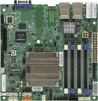 Supermicro A2SDi-LN4F Motherboard Mini-ITX, Single Socket FCBGA 1310, Intel Atom Processor C3850, System on Chip, CPU TDP support 25W, Quad LAN with Intel Ethernet Controller I350-AM4 1GbE, Up to 64GB Unbuffered ECC/non-ECC SO-DIMM, DDR4-2400MHz