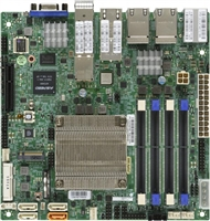 Supermicro A2SDi-TP8F Motherboard Mini-ITX, Single Socket FCBGA 1310, Intel Atom Processor C3858, System on Chip, CPU TDP support 25W, SoC controller for 4 SATA3 (6 Gbps) ports, Quad LAN with Intel C3000 SoC, 2 10GBaseT, 2 10Gb SFP+, Quad LAN