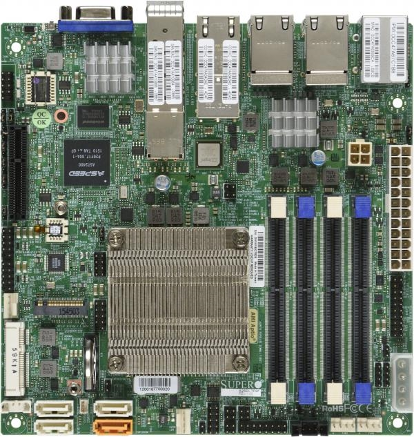 Supermicro A2SDi-TP8F Motherboard Mini-ITX, Single Socket FCBGA 1310, Intel  Atom Processor C3858, System on Chip, CPU TDP support 25W, SoC controller