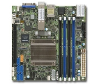 Supermicro X10SDV-12C-TLN4F+ Motherboard Mini-ITX, Intel Xeon processor D-1557, Single socket FCBGA 1667; 12-Core, 24 Threads, 45W, System on Chip, Up to 128GB ECC RDIMM DDR4 2133MHz or 64GB ECC/non-ECC UDIMM in 4 sockets, 2x 10G SFP+ and 2x GbE LAN ports