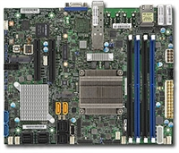 Supermicro X10SDV-2C-7TP4F Motherboard Flex ATX, Intel Pentium processor D-1508, Single socket FCBGA 1667; 2-Core, 4 Threads, 25W, Up to 128GB ECC RDIMM DDR4 1866MHz or 64GB ECC/non-ECC UDIMM in 4 sockets, 2 10G SFP+ and 2 GbE LAN, Broadwell-DE