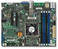 Supermicro X10SDV-4C+-TP4F Motherboard Flex ATX, Intel Xeon processor D-1518, Single socket FCBGA 1667; 4-Core, 8 Threads, 35W, Up to 128GB ECC RDIMM DDR4 2133MHz or 64GB ECC/non-ECC UDIMM in 4 sockets, 2 10G SFP+ and 2 GbE LAN, Broadwell-DE, Dual 10GbE