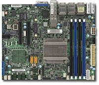 Supermicro X10SDV-TP8F Motherboard Flex ATX, Intel Xeon processor D-1518, Single socket FCBGA 1667; 4-Core, 8 Threads, 35W, Up to 128GB ECC RDIMM DDR4 2133MHz or 64GB ECC/non-ECC UDIMM in 4 sockets, 2 10G SFP+ and 6 GbE LAN, Broadwell-DE, Dual 10GbE