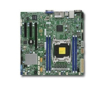 Supermicro X10SRM-F Motherboard Micro ATX, Intel Xeon, Single socket R3 (LGA 2011) supports Intel Xeon processor E5-2600 v4/v3 and E5-1600 v4/v3 family, Intel C612 chipset, Up to 512GB ECC 3DS LRDIMM, up to DDR4- 2400MHz; 4x DIMM slots, 1 PCI-E 3.0 x16