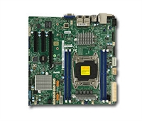 Supermicro X10SRM-TF Motherboard Micro ATX, Intel Xeon, Single socket R3 (LGA 2011) supports Intel Xeon processor E5-2600 v4/v3 and E5-1600 v4/v3 family, Intel C612 chipset, Up to 512GB ECC 3DS LRDIMM, up to DDR4- 2400MHz; 4x DIMM slots, 1 PCI-E 3.0 x16