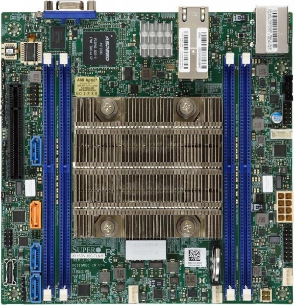 Supermicro X11SDV-8C-TLN2F Motherboard Mini-ITX, FCBGA2518, Intel Xeon  Processor D-2141I, Dual LAN with 10GBase-T with Intel X557, System on Chip,