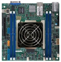 Supermicro X11SDV-8C+-TLN2F Motherboard Mini-ITX, FCBGA2518, Intel Xeon Processor D-2141I, Dual LAN with 10GBase-T with Intel X557, System on Chip, Skylake-D, 8-Core, NVMe, Dual 10GbE