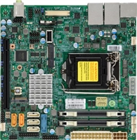 Supermicro X11SSV-LVDS Motherboard Mini-ITX vPro AMT, Embedded, Single socket H4 (LGA 1151) supports Intel 7th/6th Gen. Core i7/i5/i3 series, Intel Celeron and Intel Pentium Intel Q170 Express chipset Up to 32GB Unbuffered Non-ECC SO-DIMM DDR4 2400MHz