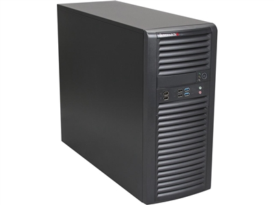"Supermicro Mid-Tower SuperServer SYS-5038A-iL Single socket H3 (LGA 1150) supports Intel Xeon E3-1200 v3 4x 3.5"" internal SAS/SATA HDD Bays 90° rotatable HDD cage design 4x 2.5"" internal SAS/SATA HDD 500W High Efficiency Power Supply Full Warranty"