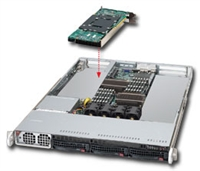 Supermicro 1U Black Server SYS-6016T-GIBQF Barebone Dual LGA 1366 3x3.5'' Hot-swap SATA drive bays Dual Port Gigabit Ethernet Controller Mellanox ConnextX-2 infiniband 40Gbps Controller w/ QSFP connector IPMI 2.0 1400W Gold Level power Full Warranty