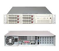 "Supermicro 2U Server SYS-6024H-T Dual 604-pin FC-mPGA4 Sockets Supports up to two Intel 64-bit Xeon processor(s) 2x Intel 82541GI Single-port GbE 6 x 3.5"" Hot-swap SATA Drive Bays Zero Channel RAID 550W Power Supply Full Warranty"