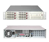 "Supermicro 2U Server SYS-6025B-8 Dual Intel 64-bit Xeon Quad-Core or Dual-Core, 667/1066/1333MHz FSB Intel (ESB2/Gilgal) 82563EB Dual-port GbE 6 x 3.5"" Hot-swap U320 SCSI Drive Bays Zero Channel RAID Support 550W Power Supply Full Warranty"