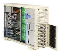 "Supermicro Intel 4U SYS-7044A-32  Dual 604-pin FC-mPGA4 Sockets Supports up to two Intel 64-bit Xeon processor Intel 82546GB Dual-port GbE SAS Zero Channel RAID 8 x 3.5"" Hot-swap SAS / SATA Drive Bays 645W Low-Noise Power Supply Full Warranty"