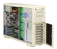 "Supermicro Intel 4U SYS-7044A-82 Dual 604-pin FC-mPGA4 Sockets Supports up to two Intel 64-bit Xeon processor Intel 82546GB Dual-port GbE SAS Zero Channel RAID 8 x 3.5"" hot-swap Ultra320 SCSI Drive Bays  645W Low-Noise Power Supply Full Warranty"