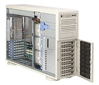 "Supermicro Intel 4U SYS-7045B-TR+ Dual 771-pin LGA Sockets Supports up to two Intel 64-bit Xeon processor Intel (ESB2/Gilgal) 82563EB Dual-port GbE 8 x 3.5"" Hot-swap Drive Bays 800W High Efficiency Redundant Power Supply Full Warranty"