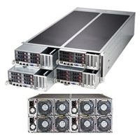"Supermicro FatTwin 4U SYS-F627R2-FTPT+ Server Dual socket R (LGA 2011) supports Intel Xeon processor E5-2600 IPMI 2.0  6x Hot-swap 2.5"" SATA HDDs 1280W Redundant Power Supplies Full Warranty"