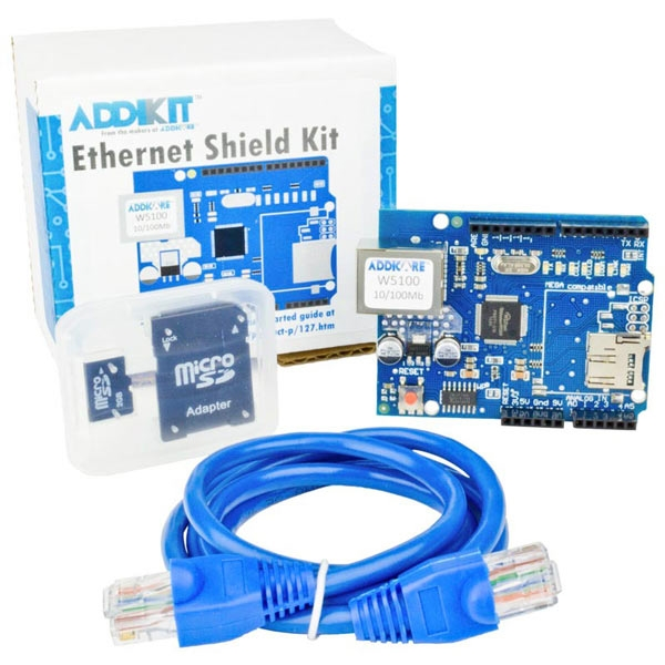 Ethernet Shield AddiKit for Arduino with SD Card and CAT5e Cable