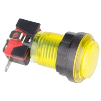 Yellow Illuminated Arcade Push Button