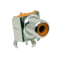 Orange RCA Jack. Pin compatible with CUI RCJ-01X series jacks. CUI Orange part number RCJ-017