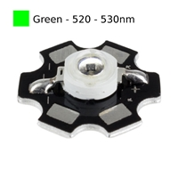 3W Green LED on Star Board Heatsink